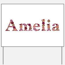Amelia Pink Flowers Yard Sign