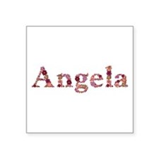 Angela Pink Flowers Square Sticker