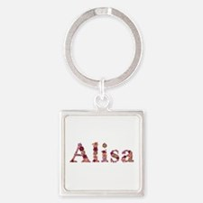 Alisa Pink Flowers Square Keychain