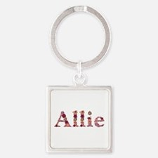 Allie Pink Flowers Square Keychain