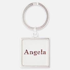 Angela Pink Flowers Square Keychain