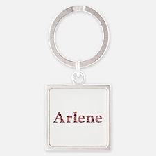 Arlene Pink Flowers Square Keychain