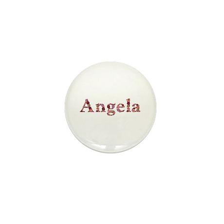 Angela Pink Flowers Mini Button