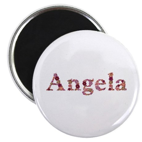 Angela Pink Flowers Round Magnet 100 Pack