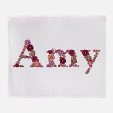 Amy Pink Flowers Throw Blanket
