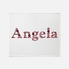 Angela Pink Flowers Throw Blanket