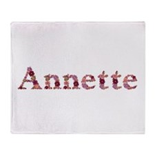 Annette Pink Flowers Throw Blanket