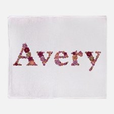 Avery Pink Flowers Throw Blanket