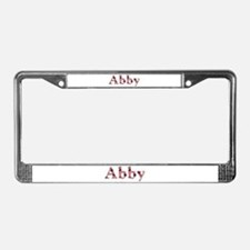 Abby Pink Flowers License Plate Frame