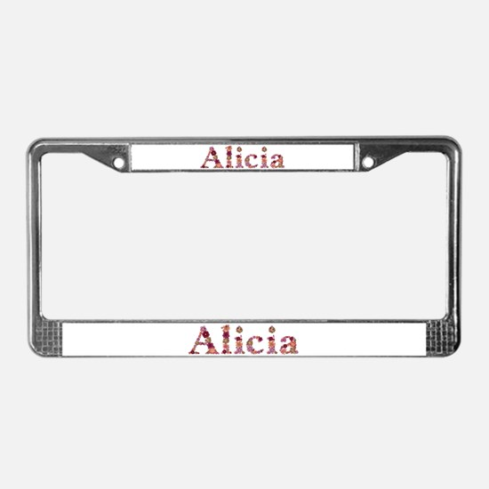 Alicia Pink Flowers License Plate Frame
