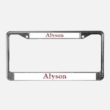 Alyson Pink Flowers License Plate Frame