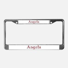 Angela Pink Flowers License Plate Frame