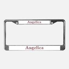Angelica Pink Flowers License Plate Frame