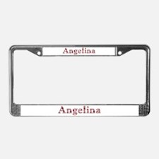 Angelina Pink Flowers License Plate Frame
