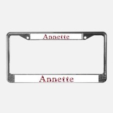 Annette Pink Flowers License Plate Frame