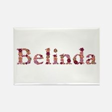 Belinda Pink Flowers Rectangle Magnet