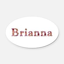 Brianna Pink Flowers Oval Car Magnet
