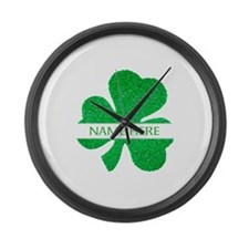 Custom Name Shamrock Large Wall Clock