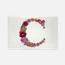 C Pink Flowers Rectangle Magnet