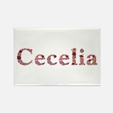 Cecelia Pink Flowers Rectangle Magnet