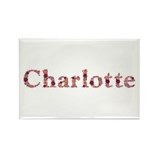 Charlotte Pink Flowers Rectangle Magnet