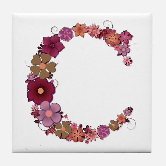 C Pink Flowers Tile Coaster
