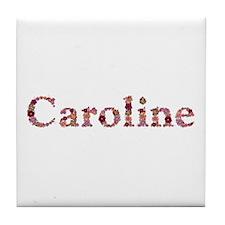 Caroline Pink Flowers Tile Coaster