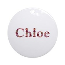 Chloe Pink Flowers Round Ornament
