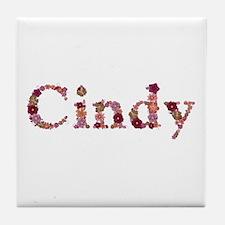 Cindy Pink Flowers Tile Coaster