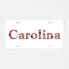 Carolina Pink Flowers Aluminum License Plate
