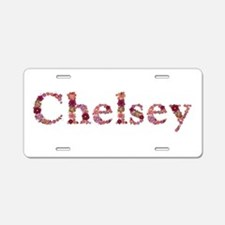 Chelsey Pink Flowers Aluminum License Plate