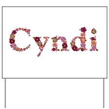 Cyndi Pink Flowers Yard Sign