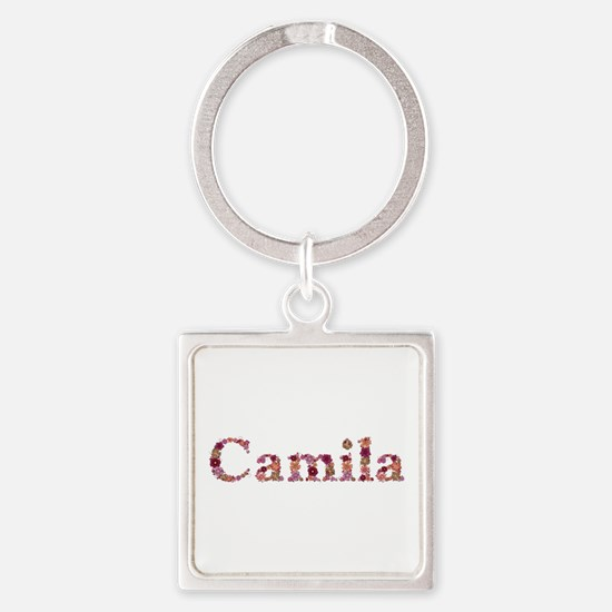 Camila Pink Flowers Square Keychain