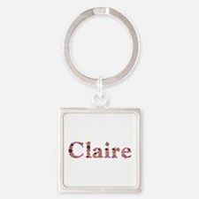 Claire Pink Flowers Square Keychain
