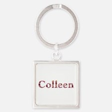 Colleen Pink Flowers Square Keychain