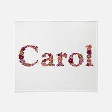 Carol Pink Flowers Throw Blanket