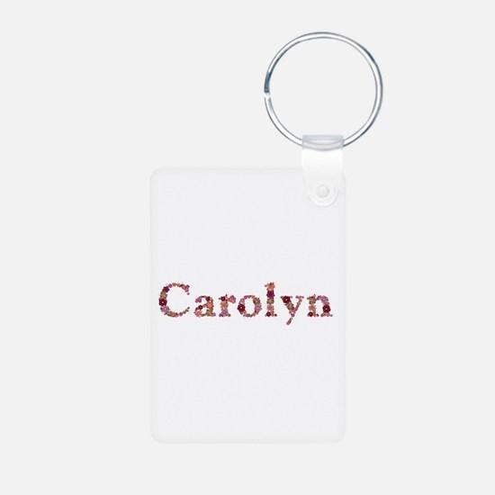 Carolyn Pink Flowers Aluminum Keychain