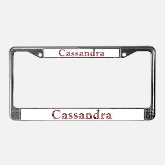 Cassandra Pink Flowers License Plate Frame