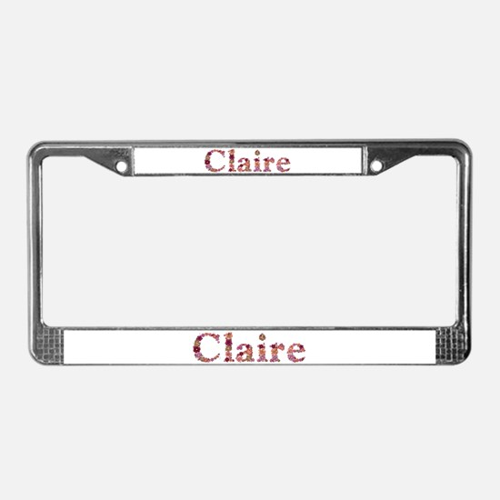 Claire Pink Flowers License Plate Frame