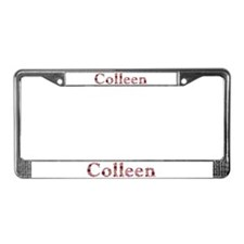 Colleen Pink Flowers License Plate Frame