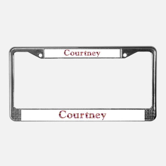 Courtney Pink Flowers License Plate Frame