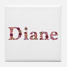 Diane Pink Flowers Tile Coaster