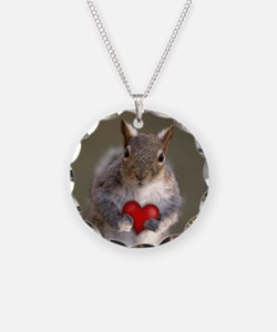 Valentine's Squirrel Circle Necklace