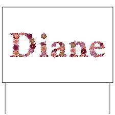 Diane Pink Flowers Yard Sign