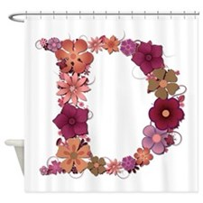 D Pink Flowers Shower Curtain