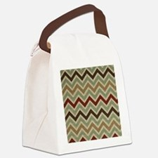 Weathered Burlap Style JigJag Canvas Lunch Bag