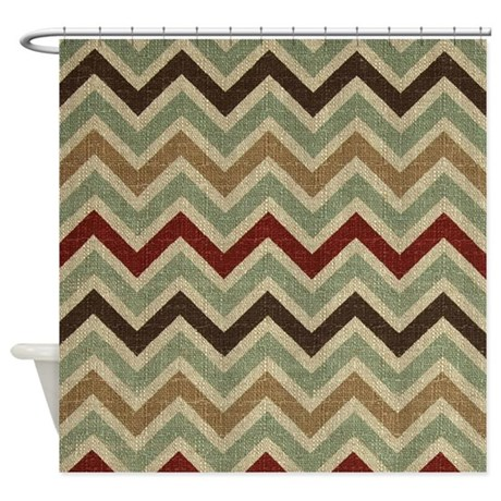 weathered burlap style jigjag shower curtain