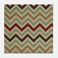 Weathered Burlap Style JigJag Tile Coaster