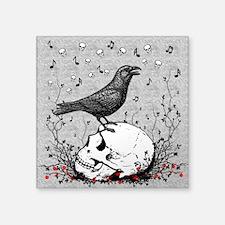 Raven Sings Song of Death on Skull Illustration Sq