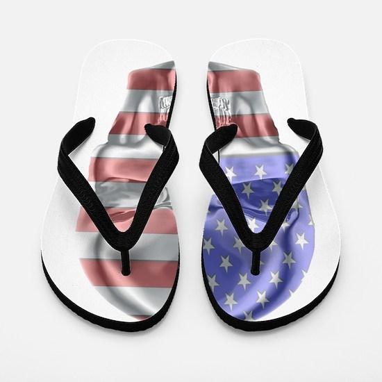 Patriotic Skull Flip Flops
